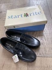 Startrite Penny Black High Shine Leather Girls Slip On Loafer School Shoes