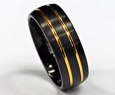 Tungsten Carbide Men Women Wedding Ring Brushed Black Gold Stripes Wedding Band