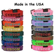 Personalized Custom Embroidered Dog Pet collars Adjustable Nylon Made in the USA