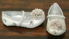 Stride Rite Silver Sparkle Dress Shoes sz 6.5 W Wide Toddler Girls Sequin