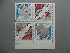 RUSSIA USSR, cornerblok of 4 MNH 1966, Antarctic penguin map, triangle stamps