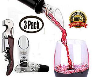 Wine Aerator Pourer 3 Pack Premium 2 Spouts  & 1 Corkscrew  Boxed Gift Ready