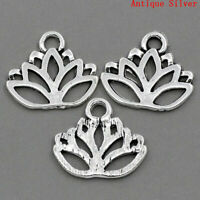 50X Silver Plated Lotus Flower Yoga Zen Namaste Pendant Charm Necklace Bracelet