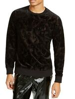 INC Mens Sweatshirt Black Size Large L Daylight Velvet Flocked Crewneck $65 016