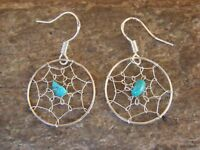 Native American Sterling Silver Turquoise Dreamcatcher Dangle Feather Earrings!