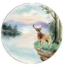 "Vintage JPL Jean Pouyat Limoges France Plate Deer Lake Nature 9"" Hand Painted"