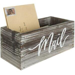 Decorative Rustic Brown Torched Wood Tabletop Mail Box/ Letter Storage Organizer