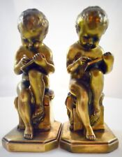 """ANTIQUE JENNINGS BROTHERS """"LEARNING TO WRITE"""" GILT GOLD BOOKENDS 1936"""