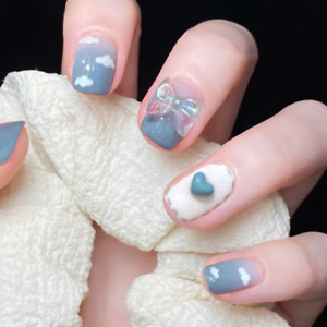 Cute Blue Sky Cloud Fake Nails with 3D Bow Heart Design French Press On Nails