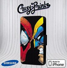 Spiderman Vs Wolverine Funny fits iPhone / Samsung Leather Flip Case Cover V5