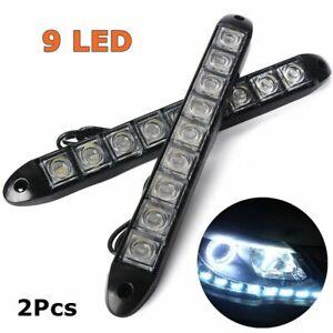 2Pcs 9 LED 12V Super Bright White Car Daytime Running Light DRL Daylight Lamp