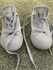 Girls Converse Canvas Trainers Lilac Size 9 Hardly Worn