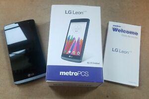 2015 LG Leon LTE LGMS345 Cellphone Metro PCS w/box, manual, unlocked