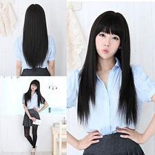 Fashion Womens Neat bang Long Black Straight Wig Full Wigs Cosplay Party Hair