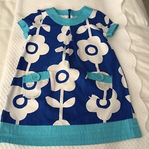 MINI BODEN GIRLS LINED DRESS SZ 3-4 BLUE AND WHITE FLORAL