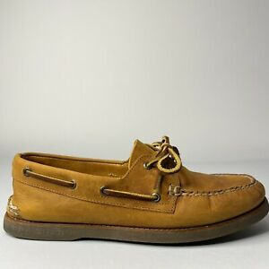 Sperry Top Sider Tan/gum Leather Gold Cup Boat Shoes Men's Size 10M