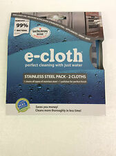 E-Cloth Cleaning Stainless Steel Pack 2 Cloths e cloth Enviro Friendly New