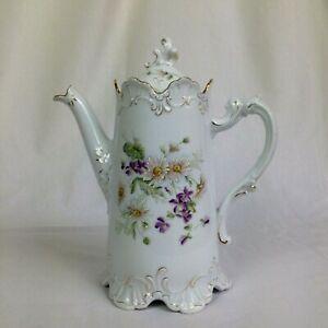 Kaffeekanne antik Porzellan Böhmen Handmalerei Blumen Historismus Volutenhenkel