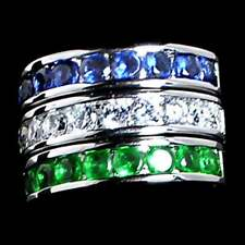 3 Ring Set_Blue_Clear_Green_Cz Wedding Band_Sz-9_925 Sterling Silver