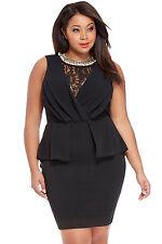 Black Plus Size Lace Peplum Midi Party Evening Dress Club Wear Size UK 16-18