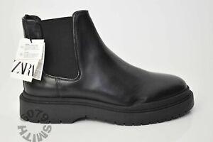 BNWB Zara Mens Black Leather Chunky Chelsea Boots Size 10/44