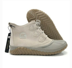 NEW Sorel Out N About Plus Womens Size 10.5 Duck Boots Waterproof Taupe Leather