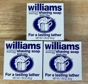 """Lot of 3 Williams Mug Shaving Soap """"For a Lasting Lather"""" 1.75oz Each"""