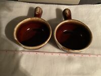 2 Vintage McCoy Pottery # 7050 Brown Drip Chili/Soup Bowls w/Handles