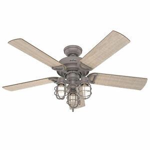 Hunter 52 Inch Starklake Indoor/Outdoor Ceiling Fan w/ 3 Lights, Quartz Grey