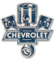 Chevrolet Pistons Cut to Shape Metal Sign Reproduction 62cm x 59cm