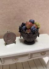 Dollhouse Vintage Artisan Sterling Silver Bowl full of Fruit STUNNING 1:12