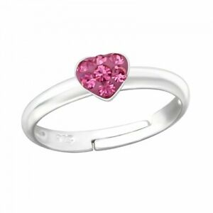 Childrens Girls 925 Sterling Silver Crystal Heart Ring Adjustable Pink Clear