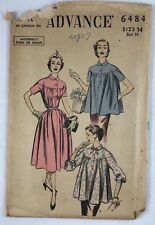 1950s Advance pattern 6484 Materity Dress or Smock Bust 32