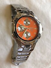 Dakota SPIDER Chronograph Watch Mens All SS Case ORANGE Dial New Without Tags