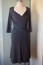 Shape Fix Gray Fit Flare Dress 4 S 3/4 sl sheath Career Cocktail shelf bra EUC