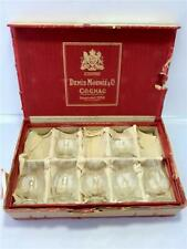 Rare Boxed Set of 7 Old J Denis Henry Mounie Small Crystal Cognac Glasses