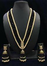 Black Bead Kundan Ethnic Bollywood Indian Wedding Long Necklace & Jhumka Earring