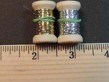 2 New Spools of Thin Flat Gold & Silver Holographic Tinsel or Flash, 20 Yds