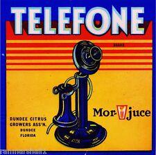Dundee Florida Telefone Telephone Orange Citrus Fruit Crate Label Art Print