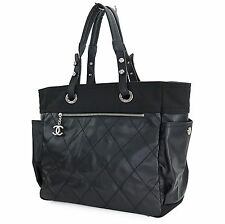 Authentic CHANEL Black Paris Biarritz Tote Shoulder Bag Purse #26421A