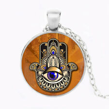 Hand of Fatima Evil Eye Symbol Cabochon Necklace Pendent Jewellery Free Gift Bag