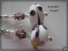 Pretty White, Purple & Pink Dainty Lampwork & Crystal Earrings Pierced & Clip On