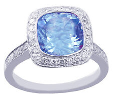 14K WHITE GOLD CUSHION CUT BLUE TOPAZ AND DIAMONDS ENGAGEMENT RING 2.50CTW