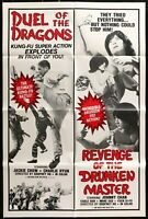 DUEL OF THE DRAGONS / REVENGE.. 70's Double Feature 1 SHEET MOVIE POSTER 27 x 41