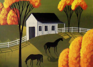 Stable barn horses farm country green gold ACEO Giclee folk art print Criswell
