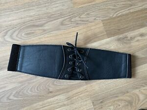 Lace-up Faux Leather Elasticated Waspie Corset Waist Cincher Belt Medium M