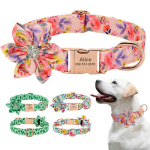 Floral Flower Dog Collar with Personalised Name Buckle D-ring Soft Padded S M L