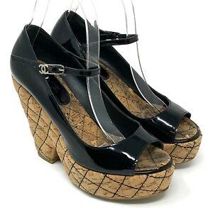 CHANEL Matelasse Coco Mark Cc Patent Leather Sandals Heels US 6.5 Black RankAB