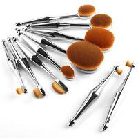 10pcs Professional Makeup Brush Soft Oval Toothbrush Shaped Set Cream Puff Tools