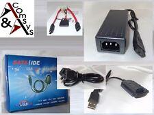 """Adattatore USB A SATA S-ATA IDE unità disco rigido 2.5"""" 3.5"""" 5.25"""" con Alimentatore"""